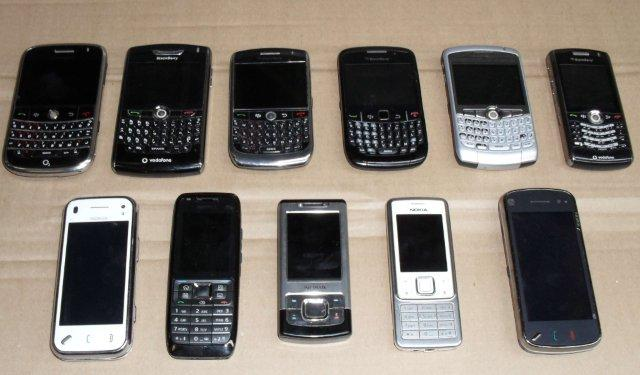 Selection of Nokia and Blackberry mobile phones from Stock Sourcing